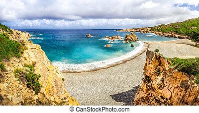 Beautiful ocean coastline panoramic view in Costa Paradiso, Sardinia, Italy