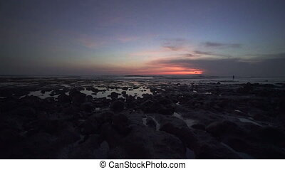 Beautiful ocean under coudy sunset sky time-lapes