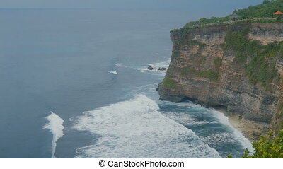 Beautiful ocean waves. Aerial top view of Tropical beach Bali, Indonesia.