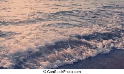 Beautiful ocean waves on sandy beach, vacation travel and ...