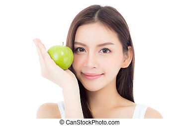 Beautiful of portrait young asian woman smile and holding green apple fruit, girl with wellness and healthy isolated on white background.