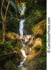 Beautiful nature of Ton Sai Waterfall at Phuket province Thailand and pipe system of Plumbing mountain