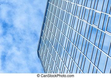 beautiful office building skyscraper with cloud of heaven