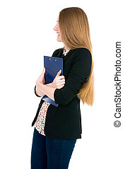 Beautiful office young woman with a tablet.