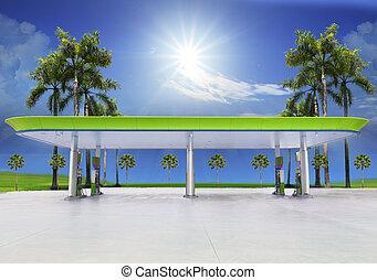 beautiful oil fuel gasoline service station under conception...