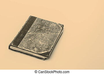 Beautiful old book closeup on white background