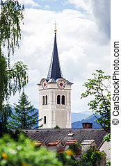 Beautiful old catholic church tower