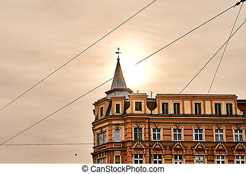 Beautiful old house in the center of Wroclaw in the morning sun light