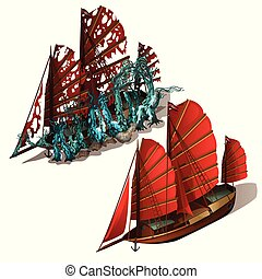 Beautiful old sailboat with red sails isolated on a white background. Ship after shipwreck is overgrown with polyps and corals on the seabed. Vector illustration.