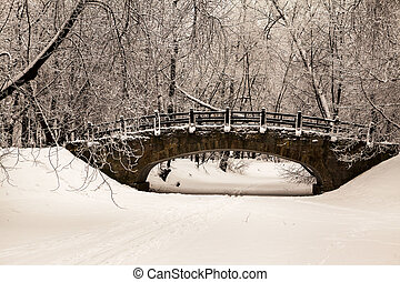 Beautiful old stone bridge of winter forest in the snow at sunset frosty days