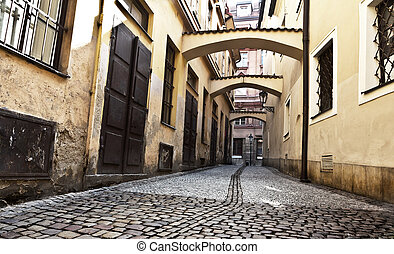 Beautiful old street in Prague, Czech republic