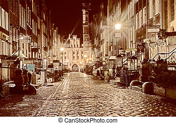 beautiful old streets of Gdansk at night