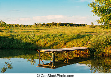 Beautiful Old Wooden Pier, Bridge For Fishing And Summer Forest In Background