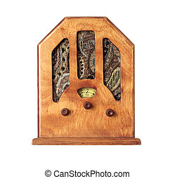 Beautiful old wooden radio on a over white background