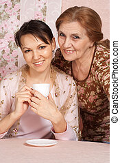 Beautiful older woman with daughter