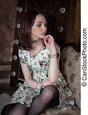 beautiful one girl - Portrait of a cute brunette in the...