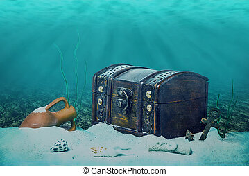 beautiful opened empty old wooden treasure chest submerged...