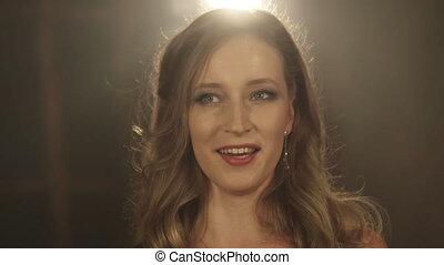 Beautiful opera singer girl. 4k Portrait close up of the...