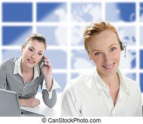 Beautiful operator women smiling and talking phone