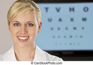 Beautiful Optician - A beautiful female optician shot with ...