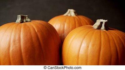 beautiful orange pumpkin on a dark background
