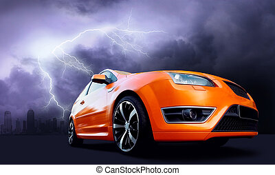 Beautiful orange sport car on dark sky with lightning