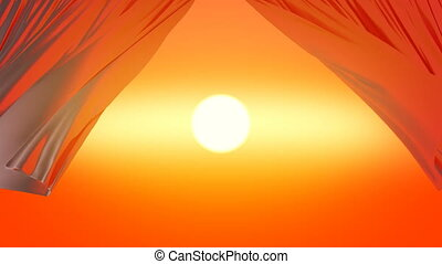 Beautiful Orange Sunset Sun Through the Waving Curtains. 3d Animation of Light Silky Curtains in the Wind Opening the Evening Sky View. 4k Ultra HD 3840x2160.