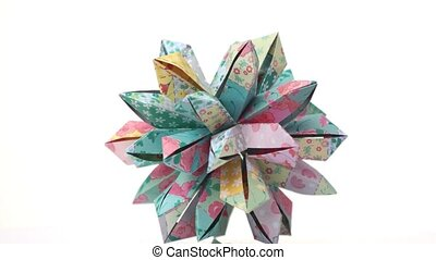 Beautiful origami patterned flower. Floral origami...