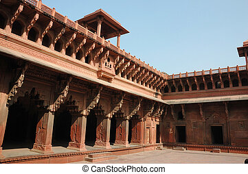 Beautiful ornate galleries inside Agra fort
