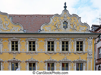 Beautiful ornate house facade in germany