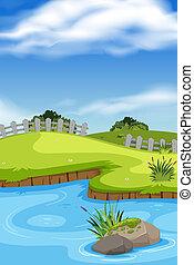 Beautiful outdoor pond scene