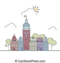 Beautiful outline city landscape. Little colorful town in cartoon style. Vector illustration EPS 10