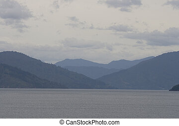 Beautiful outline of the hills and mountains of Marlborough Sounds in New Zealand