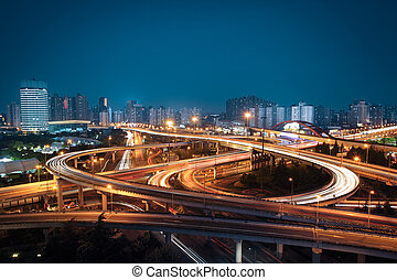 beautiful overpass in the night