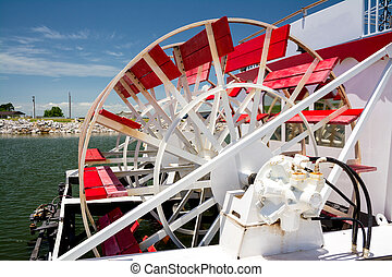 Beautiful paddle wheel boat in the water