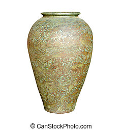 Beautiful painted vase on a pure white background