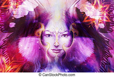 Beautiful Painting Goddess Woman with bird phoenix on your face with ornamental mandala and butterfly wings and color abstract background  and eye contact.