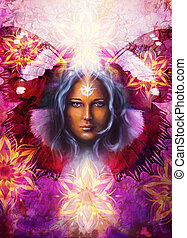 Beautiful Painting Goddess Woman with ornamental mandala and butterfly wings and color abstract background  and eye contact.