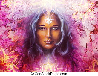 Beautiful Painting Goddess Woman with ornamental mandala and color abstract background and desert crackle.