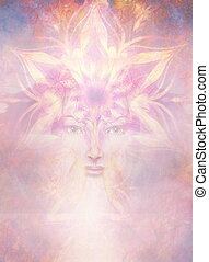Beautiful Painting Goddess Woman with ornamental mandala and color abstract background  and desert crackle. Copy space.