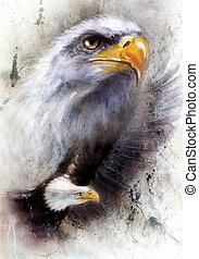 beautiful painting of a two eagles, on an abstract textured...