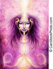 beautiful painting of a violett angelic spirit with a...