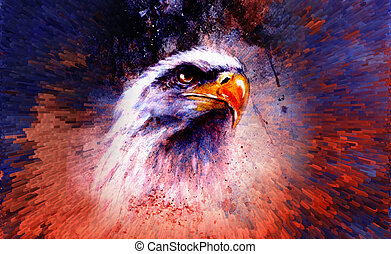 beautiful painting of eagle on an abstract background, color with spot structures