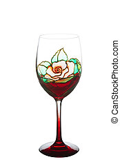 Beautiful painting stained glass of wine glass for ...