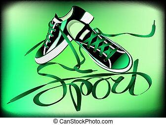 beautiful pair of green sneakers