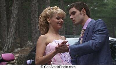 Beautiful pair of lovers - Beautiful girl in pink dress...