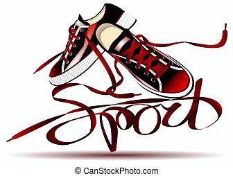 beautiful pair of red sneakers
