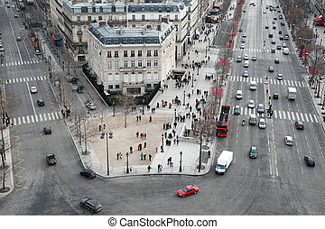 beautiful panorama from Arc de Triomphe, Champs-Elysees at winter in Paris, France
