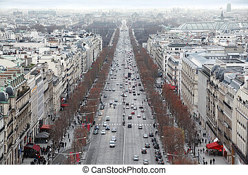 beautiful panorama from Arc de Triomphe, Champs-Elysees in Paris, France, Ferris wheel