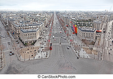 beautiful panorama from Arc de Triomphe, Champs-Elysees in Paris, France